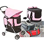 Valentina Valentti PET STROLLER, PUSHCHAIR FOR PETS IN PINK COLOUR, all in one pet stroller, pet carrier, dog car seat 7
