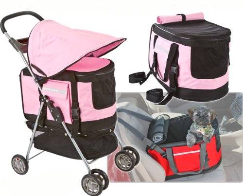 Valentina Valentti PET STROLLER, PUSHCHAIR FOR PETS IN PINK COLOUR, all in one pet stroller, pet carrier, dog car seat 1