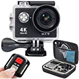4K Ultra HD Dual Screen 2.0 LCD 0.95 OLED 12MP 170 Wide Angle Lens 30-Meter Waterproof Diving Sport Action WIFI Video Camera With 2.4G Blutooth Wirelss Remote Controller Black