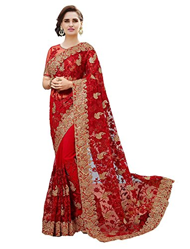 indian e fashion Red Net Embroidered Saree with blouse piece