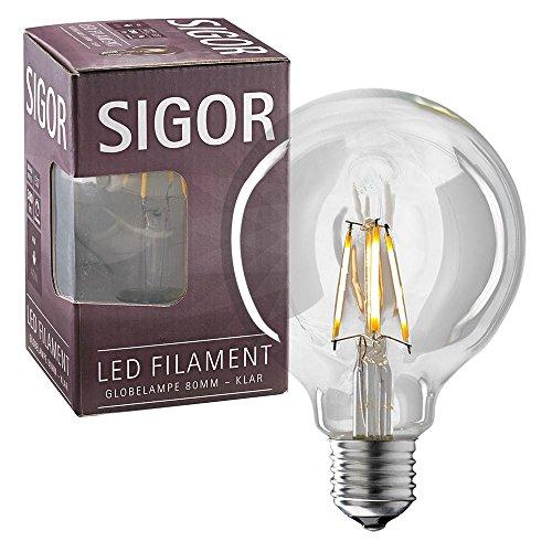Moderne 4-licht Pendelleuchten (Sigor 4W LED-Filament GLOBE KLAR 80MM E27 2700K)