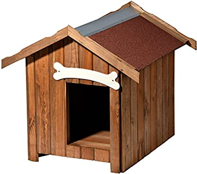 dobar Outdoor Weatherproof Outdoor Insulated Dog House with Pointed Roof (Pine Wood) – Made in the EU