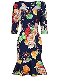 8b0e366fef19 Hearts & Roses London Navy Floral Fitted 1950s Peplum Hem Pencil Wiggle  Dress