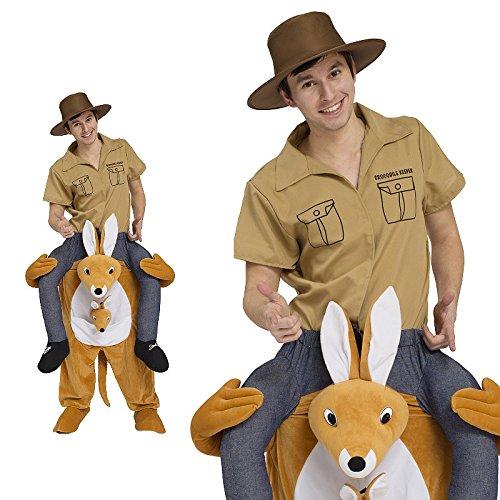 Piggyback Kostüm Herren Känguru Outback Reiter Ride On Maskottchen JGA Stag (Känguru Erwachsene Für Kostüme Die)
