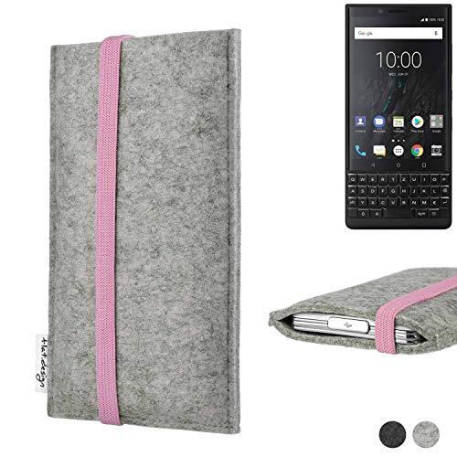 flat.design Handy Hülle Coimbra für BlackBerry KEY2 (Dual-SIM) handgefertigte Handytasche Filz Tasche Case rosa hellgrau
