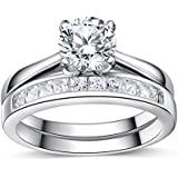 925 Sterling Silver Brilliant Diamond Cut Crystals Accent Love Forever Eternity Engagement Wedding Rings for women, teenage girls, Size UK M J L K N P Q R O S, with Gift Box, Ideal Gift for Christmas