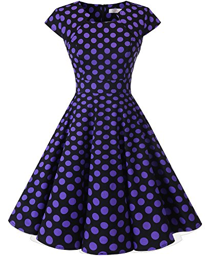 HomRain Damen 50er Vintage Retro Kleid Party Rockabilly Cocktail Abendkleider Black Purple Big Dot XS Purple Party Kleider
