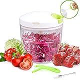 1Anberi Zerkleinerer küche Manuell Küchenmaschine Gemüseschneider Gemüsehobel Multi 5 Klingen Zwiebelschneider Küchenhelfer für Babynahrung,Gemüse,Früchte,Fleisch -900 ml