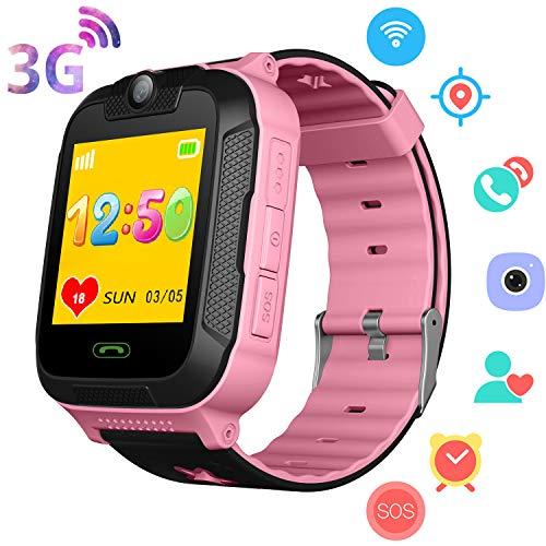 3G Reloj GPS Niños - GPS/Wi-Fi/LBS Localizador Podómetro Rastreador de Ejercicios Niños Niñas Reloj Inteligente con 2 Llamadas Camara SOS Juego de Chat por Voz Compatibles iOS/Android (Rosa)