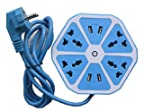 #10: Azacus Hexagon Socket Extension board with 4 USB 2.0Amp charging point -- PowerCube Socket EU Plug 4 Outlets+4 USB Ports Adapter with 1.7m Cable Extension Adapter Multi Switched Socket 8 Socket Surge Protector (Multicolor)