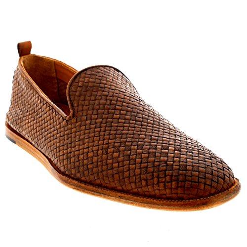 Bräune Casual Schuhe (Herren H By Hudson Ipanema Leder Schlüpfen Weben Bräune Lässig Schuhe - Bräune - 42)