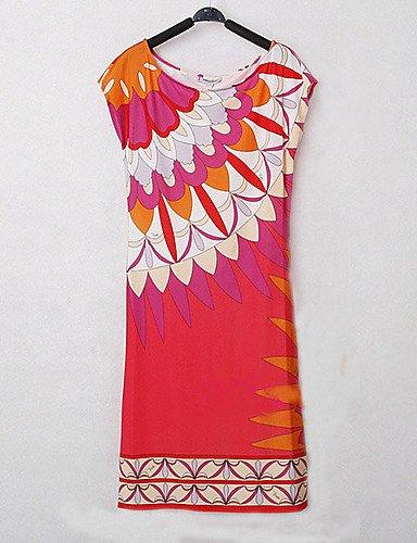 PU&PU Robe Aux femmes Gaine Vintage,Imprimé Col Arrondi Au dessus du genou Polyester PINK-M