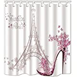 KOTOM Paris France cortinas de ducha, zapatos de tacón alto y flor con la torre