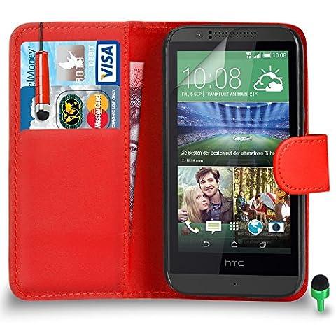 POUR HTC Desire 510 - SHUKAN® Prime Cuir ROUGE Portefeuille Cas Coque Couverture avec Mini Toucher Style Stylo VERT Cap Protecteur d