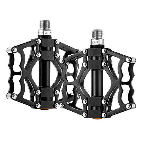 "Fahrradpedale, Baiker CNC Aluminium MTB BMX Pedale Mountainbike Plattformpedale Trekking Pedale für 9/16"" Mountainbike, Rennrad, Stadtrad (2er Set) (Schwarz)"