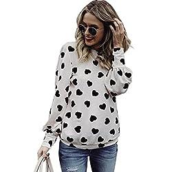 Gaddrt Long Sleeve Love Printing Womens Sweatshirt Crop Top Jumper S-2XL by Gaddrt