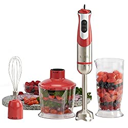 Red : Kolle Electric Powerful 3-in-1 800 Watt Hand Stick Blender 800ml Food Processor Whisk Attachment and 800ml Beaker - 2 Year Warranty (Red)