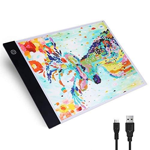 CLTech A4 LED Licht Pad Leuchtkästen, Ultra-Thin Helligkeit Dimmable Light Pad mit USB-Kabel - Leuchtbox Reißbrett Tabelle für Zeichnung Schablone Kunst Kids Geschenk (Stufe 3 Einstellbar) -