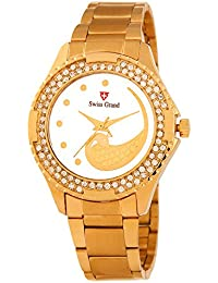Swiss Grand SG_1220 Golden Coloured With Golden Stainless Steel Strap Quartz Watch For Women