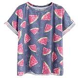 feiXIANG Mode Frauen Damen Sommer kurzärm elige Tops t - Shirt Bluse blau Wassermelone Bedrucktes Hemd (L, Blau)