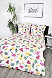 jilda-tex Seersucker Bettwäsche Summer Feeling 135x200 cm 100% Baumwolle Sommerbettwäsche Flamingobettwäsche verschiedene Größen (135 x 200 cm)