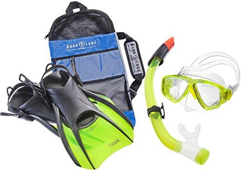 Aqua Lung Sport La Costa Travel Deluxe 3er Set (Tauchmaske, Schnorchel & Flossen) inkl. Beutel - Lime - Gr. 40-44 -