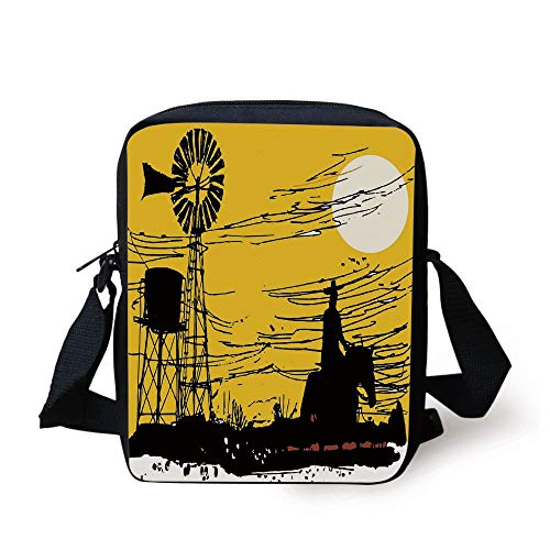 Outback Cross Body (Windmill Decor,Australian Outback Inspired Artwork Cowboy on Horse at Sunset,Earth Yellow Black White Print Kids Crossbody Messenger Bag Purse)