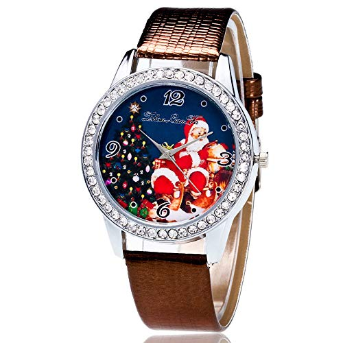 Heiße Weihnachtsuhr LSAltd Männer und Frauen Neue Art und Weise Weihnachtsmann Druck Quarz Uhr beiläufige Uhren Elegantes Armband Weihnachts Unisex Uhr -