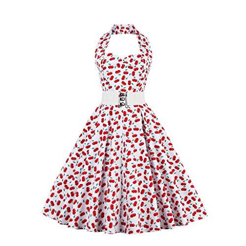 IMUYI Femmes Vintage Party points 1950 polka Cocktail Balançoire Rockabilly Dress Cerise