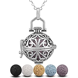 INFUSEU Women Necklace Pendant Essential Oil Diffuser, Four-Pointed Star I Miss You All The Time Aromatherapy Locket Pendant Gift for Her with 5 Colored Lava Stones & Chain 24