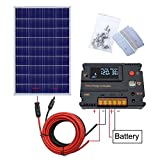 ECO-WORTHY 100W 120W 12V Solar Panel Kit with 20A Solar Charge Controller & 5m Solar Cable & Z Style Mounting Brackets for RV Boat Motorhome Caravan Camper (120W Solar Panel System)
