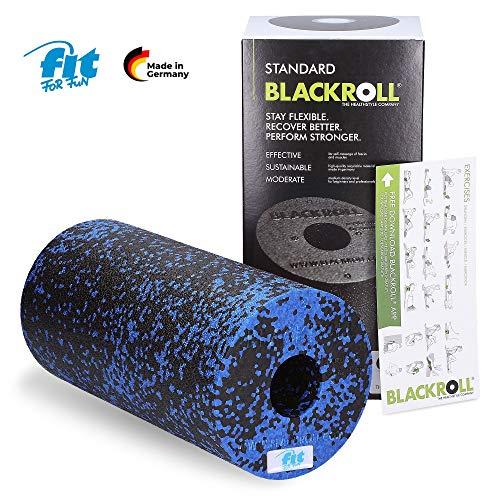Fit for Fun Blackroll x Faszienrolle Standard für die Faszienmassage in Mittel-Hart - Professionelle Fitnessrolle in Schwarz-Blau mit Trainingsanleitung - 30 x 15 cm (blau, 30 cm x 15 cm)