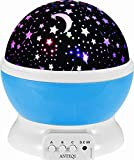Anteqi Sun & Star Lighting Lamp 4 Led Beads 360 Degree Romantic Room Rotating Cosmos Star Projector(Blue)