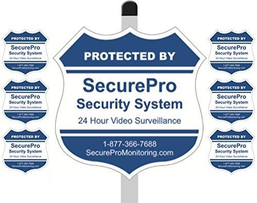 2,5cm geschützt securepro Sicherheit System Yard-Zeichen (22,9x 22,9cm), montiert auf Einem 91,4cm Langen Spieß mit 6Security Alarm System Aufkleber im lieferumfang Enthalten-Blau & Weiß Gefälschte Video-Überwachung