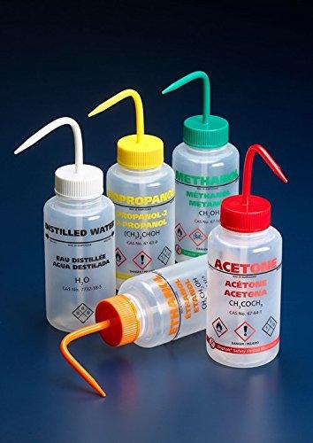 azlon wgw539vtmla USA OSHA INT Waschen Flasche, Dampf Venting, breiter Hals, Isopropanol, blau PP Verschluss, LDPE, 500ml (5Stück) -