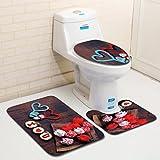 jiangfu Color/Valentine 's Day/Toilet Mats 3Sets, 3piezas San Valentín patrón antideslizante inodoro sitzab cobertura Alfombra Baño Set Decor