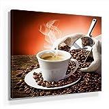 Küchen Bild A250, 1 Teil 50x50cm Leinwand auf Holzrahmen aufgespannt, FineArt Print, UV-stabil und wasserfest, Kunstdruck für Büro oder Wohnzimmer, Deko Bild, Kaffee Frühstück