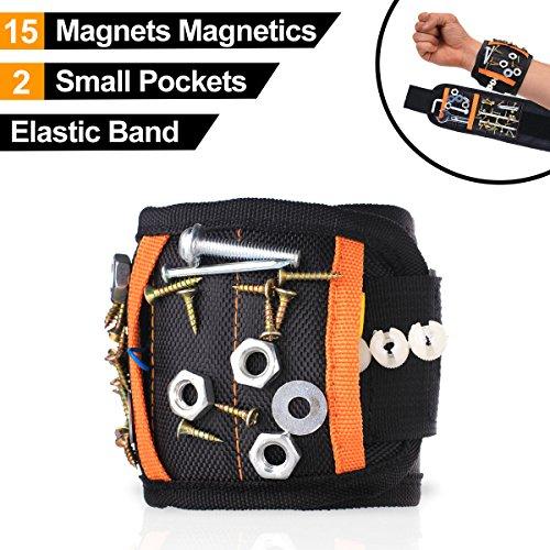 15 kraftvolle Magnete 2 kleine Taschen Magnetischer Armbandes, Handsfree Wrist Band Strap Halterung Tonabnehmer Carry Kit, magnetische Aufnahme Armbänder Werkzeug für Schrauben, Bolzen, Nägel, Bohrer, Geschenke für Heimwerker, hält bis zu 1,2 kg (Tasche Magnete)
