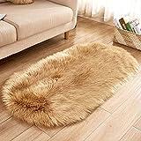 AINIYUE Faux Pelz Schaffell Teppich, Ellipse weichen Stuhl Kissen Bereich Teppiche, Shaggy seidig Plüsch Teppich, Nachttisch Matte, für Schlafzimmer Boden 90x150cm Khaki