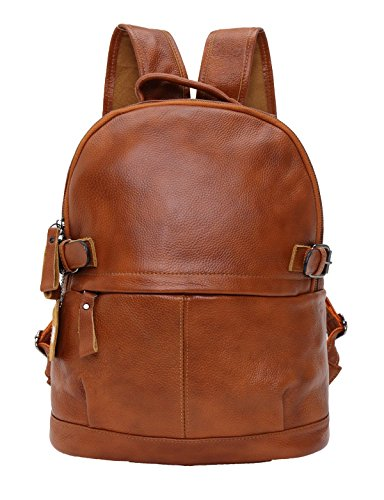 Sulandy Womens Genuine Cow Leather Casual Daily Backpack Handbag,Ladies Real Leather Backpack Rucksack Bag (brown)