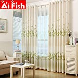 Aifish Pastoral Clover Lucky Green Leaves Window Curtains Sheet For The Beoom Living