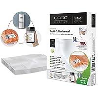 CASO Profi- Folienbeutel 16x23cm (1201) / 50 Beutel mit Etiketten für alle Balken Vakuumierer geeignet / Kochfest - Mikrowellen geeignet - Sous Vide geeignet / stabile Schweißnaht / Materialstärke ca. 160 µm / kostenlose Food-Manager App