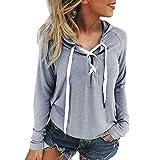 Xinan Damen Sweatshirt Kapuzenpullover Damen Locker Langarm Hoodie Jacke Bluse Top (S, Grau)