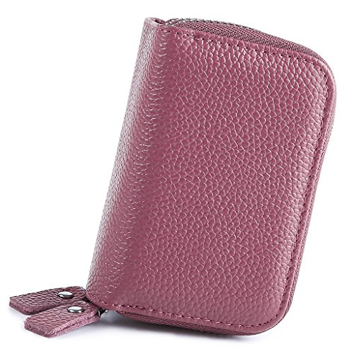 Mcvilla Echt Leder Scheckkartenetui Kreditkartenetui Visitenkartenetui Geldbeutel Minibörse RFID-Blocking (Rot) Rosa