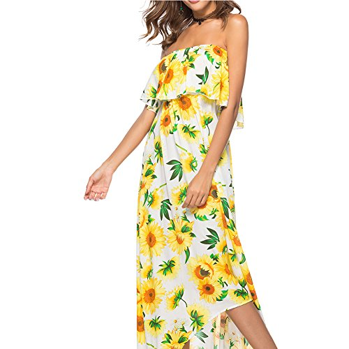 GAESHOW Women's Wrapped Chest Floral Print Casual Ruffle High Waist Long Maxi Dress Summer (Yellow, XX-Large)