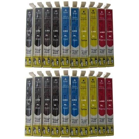 20 Cartuchos de Tinta para Epson Stylus s22 sx125 sx130 sx235 sx235W sx420 sx420W sx425 sx425W sx430 sx430W sx435 sx435W sx440 sx440W / Epson Stylus sx 125 130 235 420 425 430 435 440 / Epson Office BX305 F FW compatible 1281 1282 1283 1284 1285 incluye 8 x Negro 4 x Cian 4 x Rojo 4 x