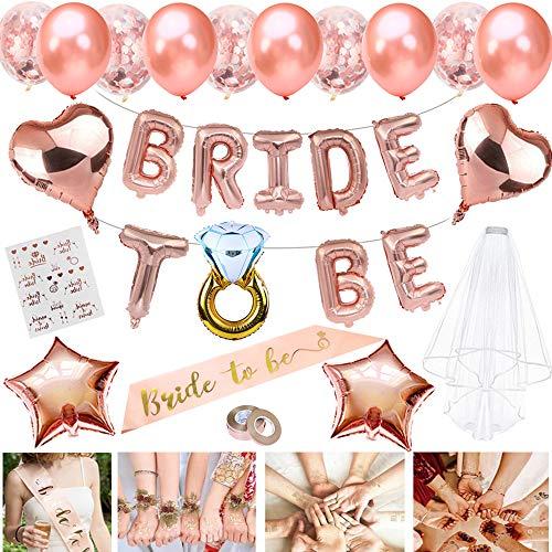 JWTOYZ Braut to Be Deko, Junggesellenabschied Deko mit Banner Folienballons Rosegold, Schärpe , Braut Tattoo, Rosegold Luftballons und Brautschleier -
