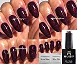 Vernis à ongles gel Blue Sky - Cerise noire/Bordeaux - Paillettes fines - 10 ml - Séchage UV LED Soak - 2 lingettes brillance LuvliNail