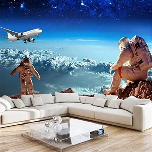 Yonthy 3D Wandbild Tapete Wand-Aufkleber Wohnzimmer Schlafzimmer Dekoration Stereo Decke Weltall Universum Kinder Sternenhimmel Planet Astronaut Aircraft 350Cmx250Cm 6280 Stereo