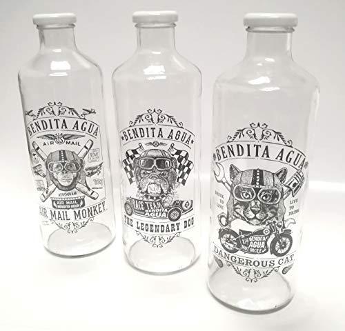 BENDITA AGUA Botellas DE Cristal 1 litro Colección Intrepidos (3 Piezas)